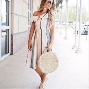 Dresses & Skirts - China Fashion Striped Off Shoulder Midi Dress Sz S